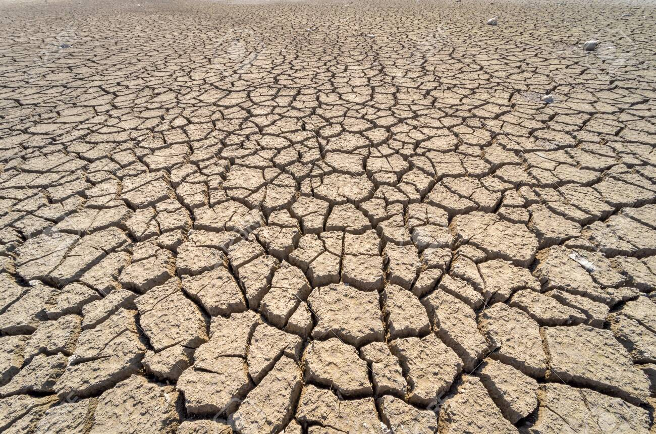 Dry cracked desert. Background. The global shortage of water on the planet. - 120175805