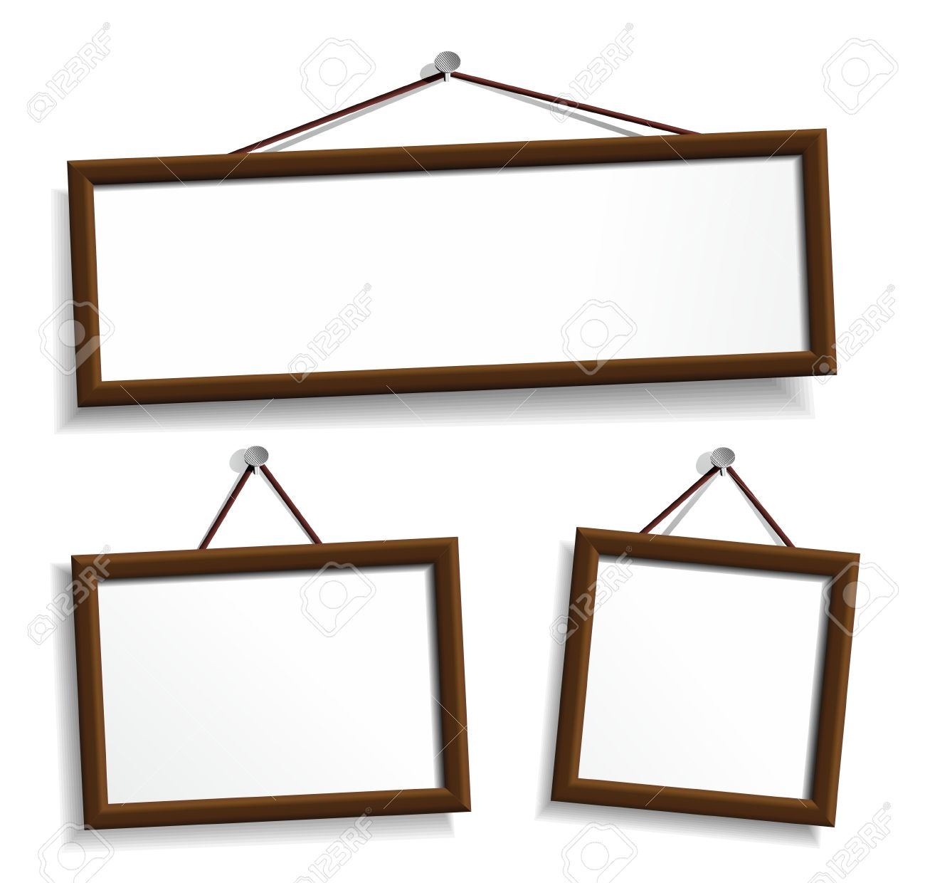 Wooden Frames Hanging On A Nails. Royalty Free Cliparts, Vectors ...