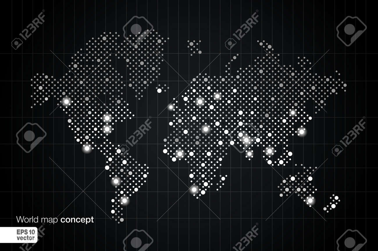 Stylized world map concept with biggest cities globes business stylized world map concept with biggest cities globes business background night view with spot lights vector gumiabroncs Images
