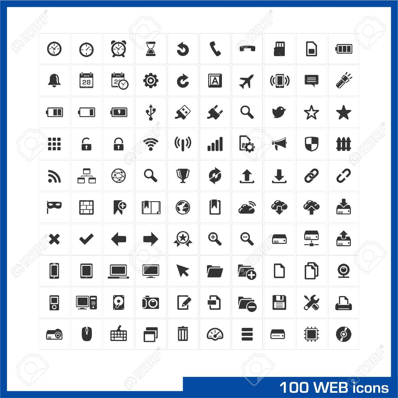 100 web icons set vector pictograms for web internet mobile 100 web icons set vector pictograms for web internet mobile computer interface design biocorpaavc