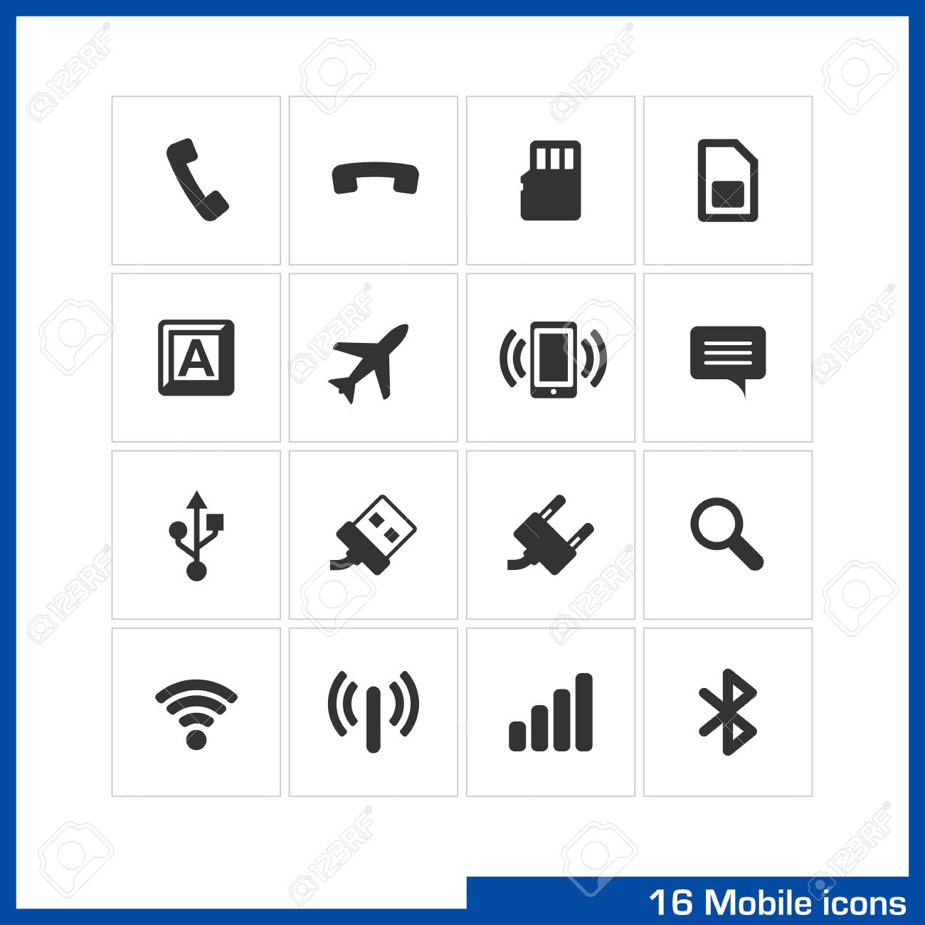 Mobile icon set  Pictograms for web, computer and mobile apps  Include pick up, flash card, sim, keyboard, plane, vibration, speech babble, USB, charge, search, wireless, router, connection symbol Stock Vector - 21730747