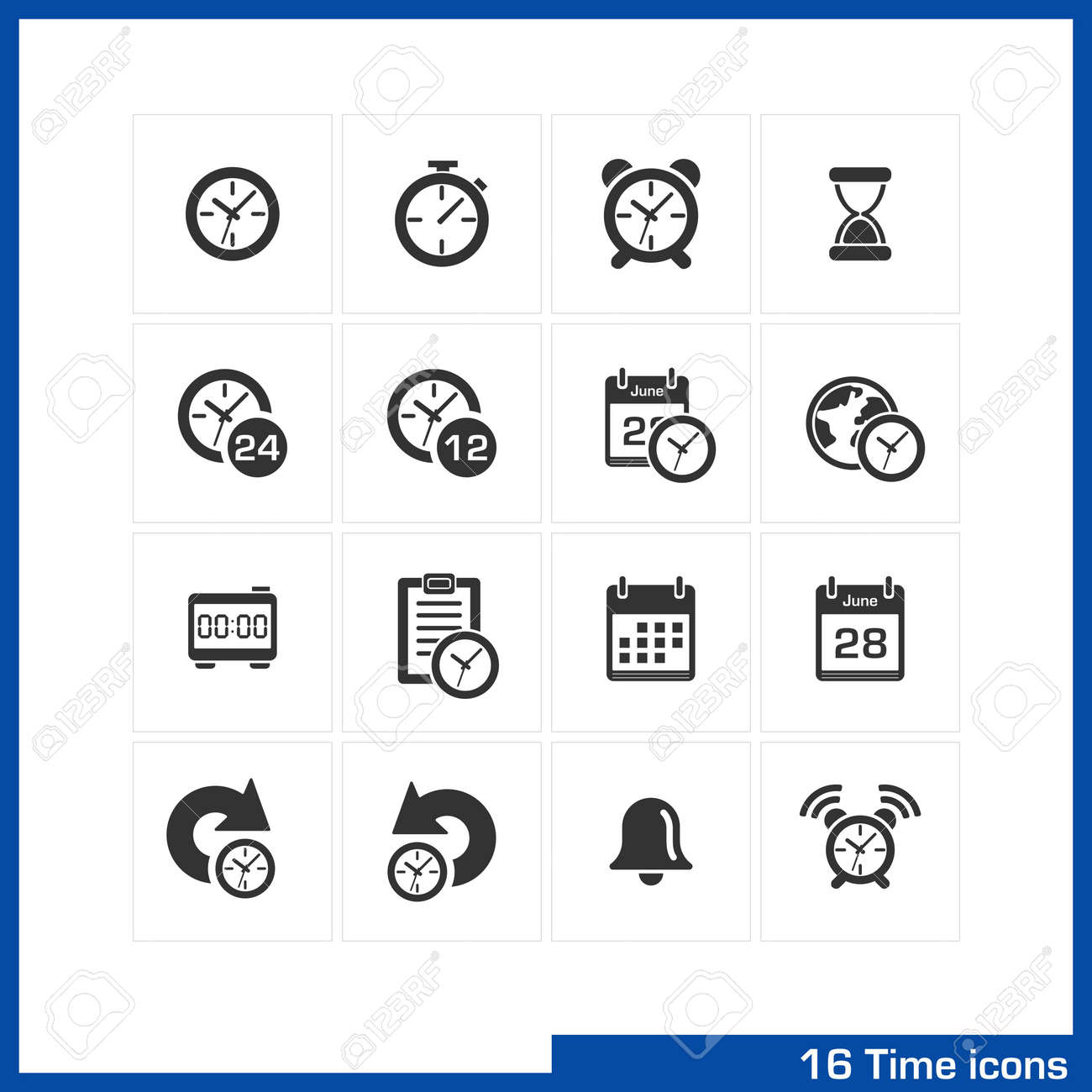 Date and time icons set vector black pictograms for business date and time icons set vector black pictograms for business management web internet biocorpaavc