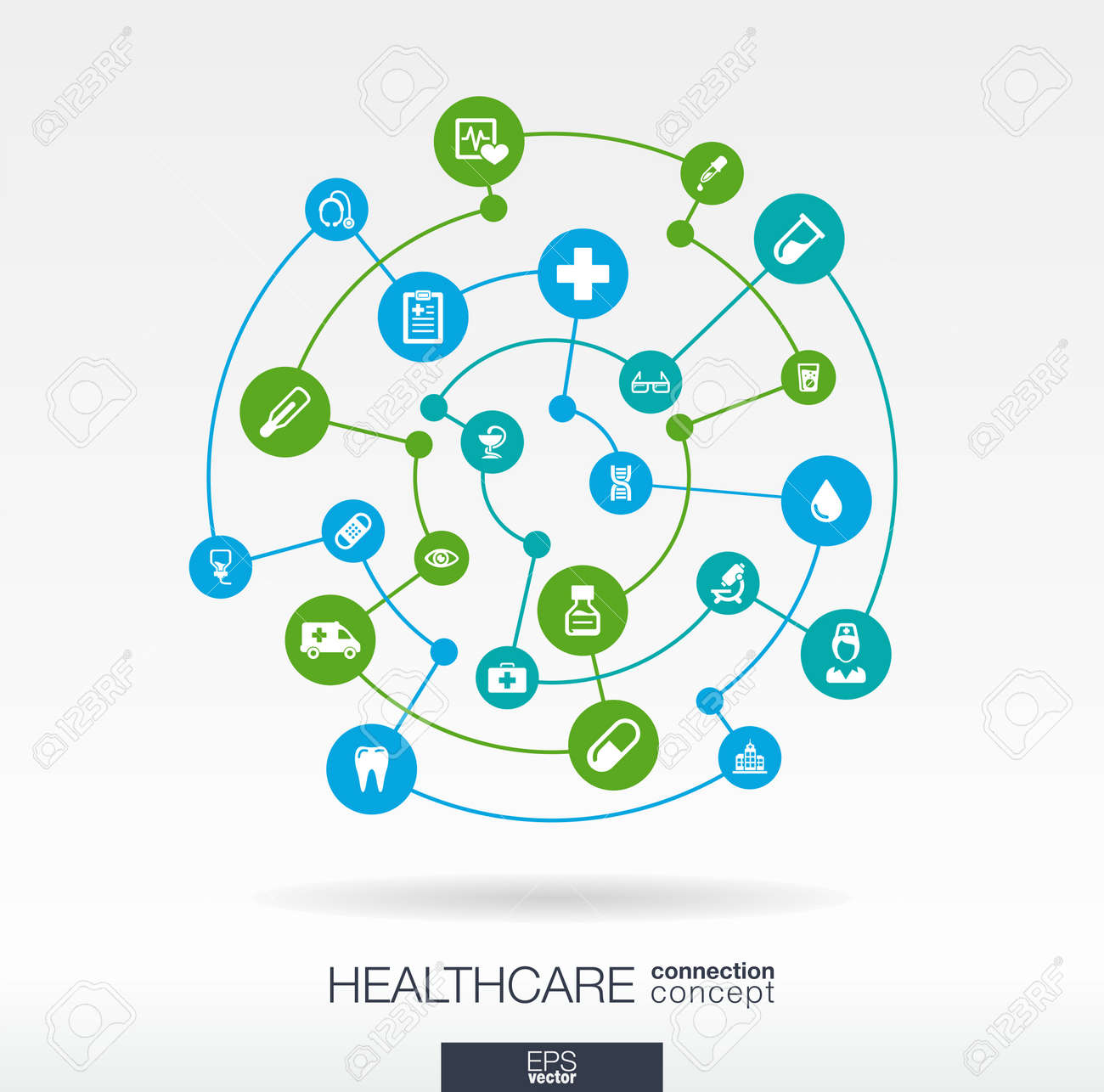 Healthcare connection concept. Abstract background with integrated circles and icons for medical, health, care, medicine, network, social media and global concepts. Vector infographic illustration. Stock Vector - 31733394