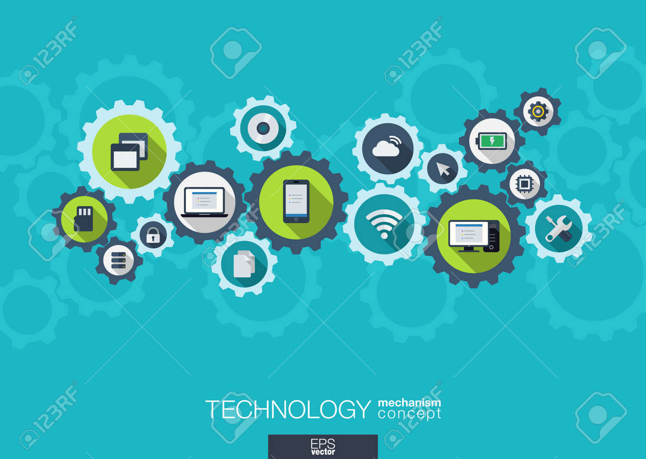 Technology mechanism concept. Abstract background with integrated gears and icons for digital, internet, network, connect, social media and global concepts. Vector infograph illustration. Flat design - 31733407