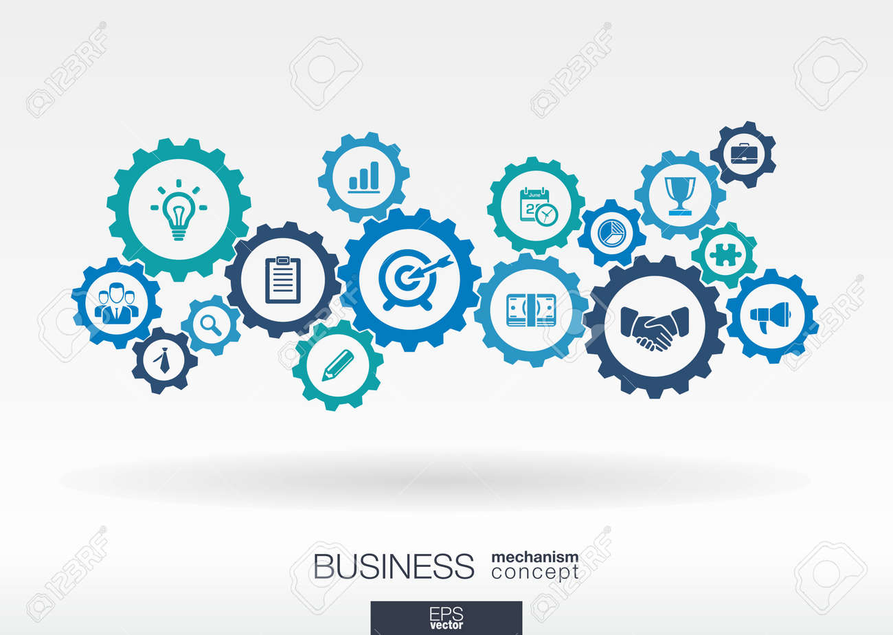 Business mechanism concept. Abstract background with connected gears and icons for strategy, service, analytics, research, seo, digital marketing, communicate concepts. Vector infographic illustration - 31733435