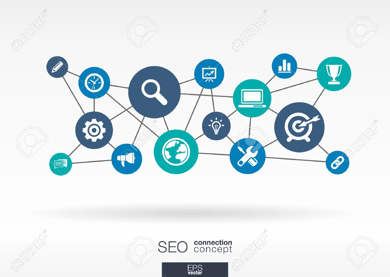 SEO network. Growth abstract background with lines, circles and integrate flat icons. Connected symbols for digital, network, connect, analytics, social media and market concepts. Vector interactive illustration. - 38626634
