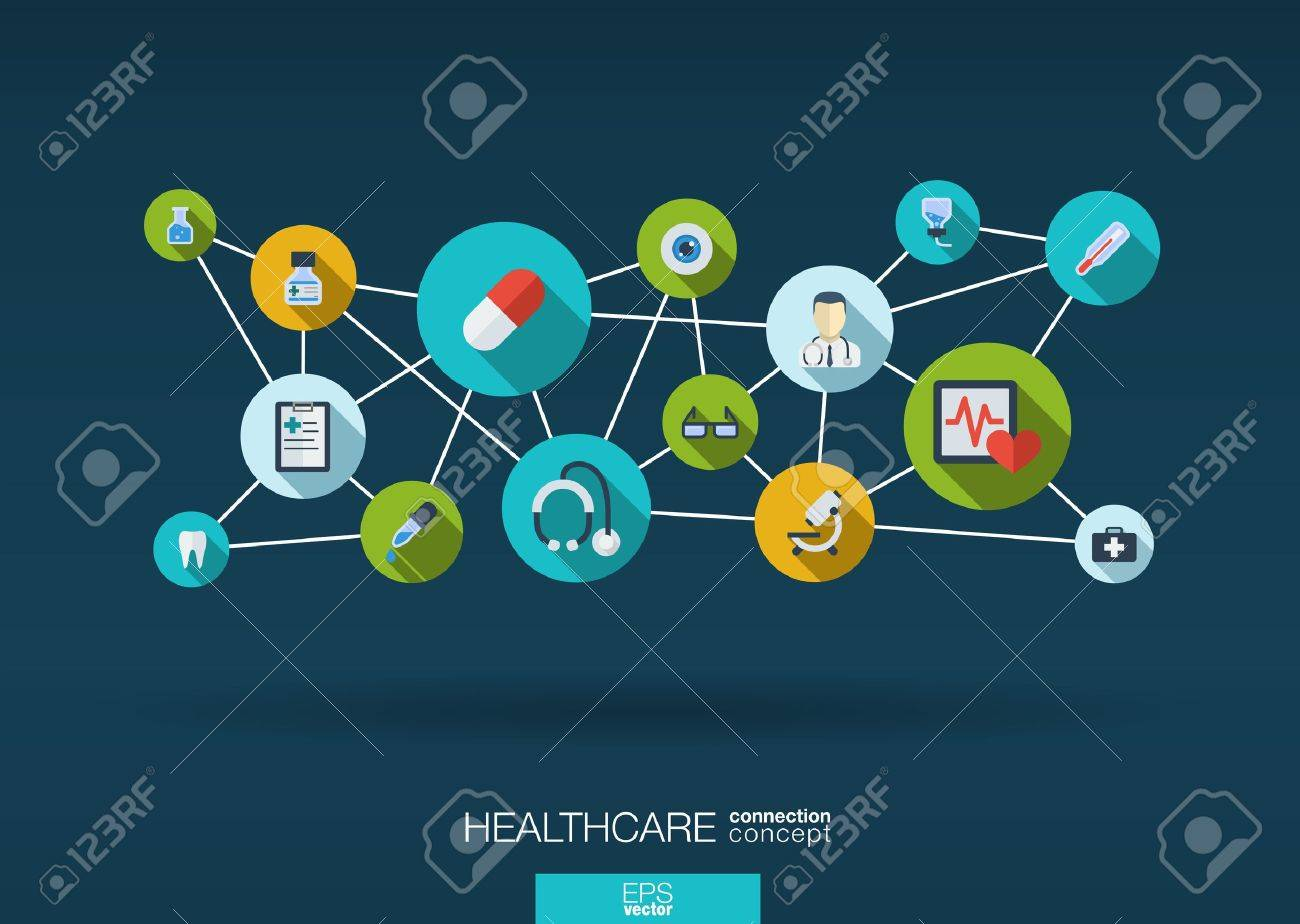 Abstract medicine background with lines, circles and integrate flat icons. Infographic concept with medical, health, healthcare, nurse, DNA, pills connected symbols. Vector interactive illustration. Stock Vector - 38625051