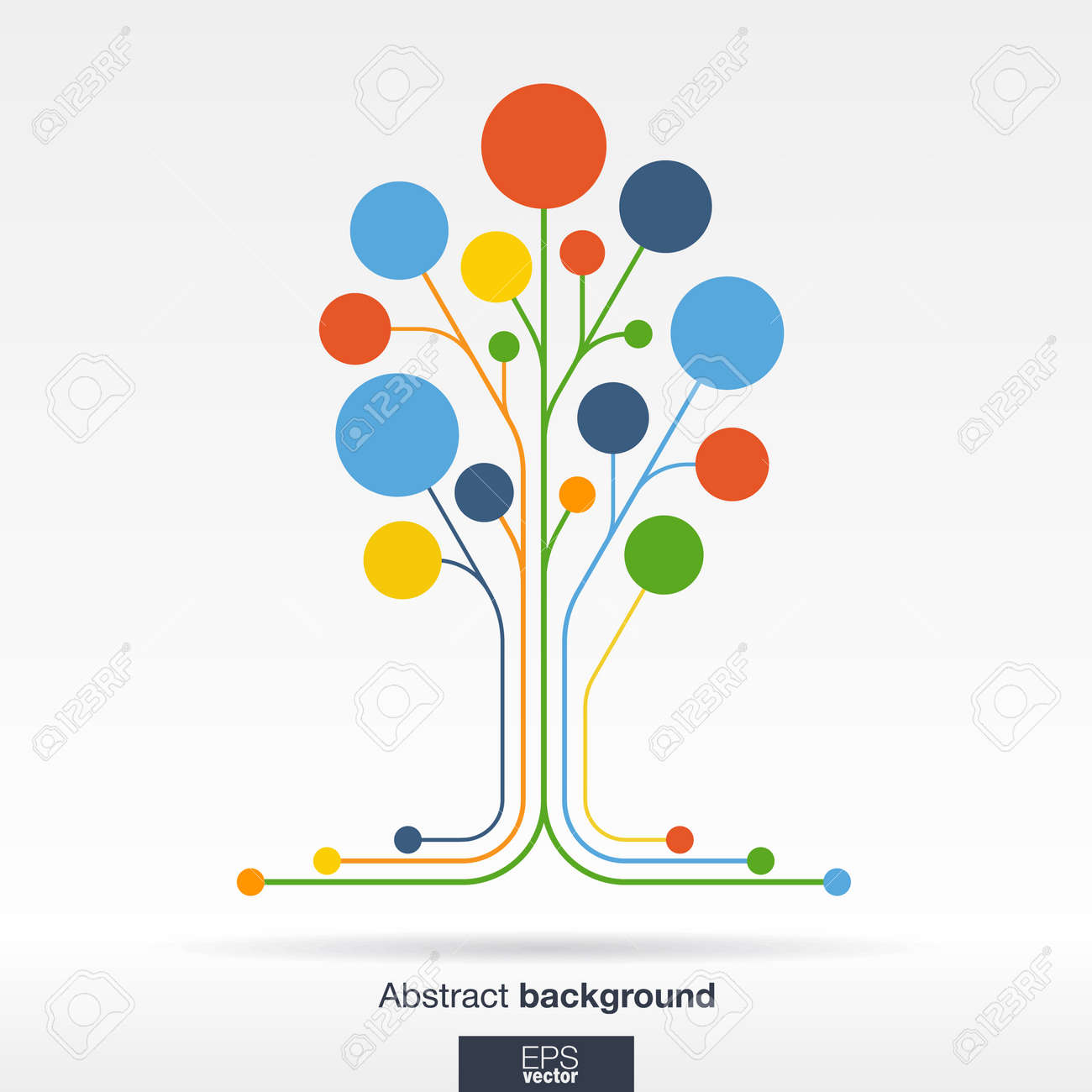 Abstract background with lines and color circles. Growth flower tree concept for communication business social media technology ecology network and web design. Flat Vector illustration. Stock Vector - 41722280