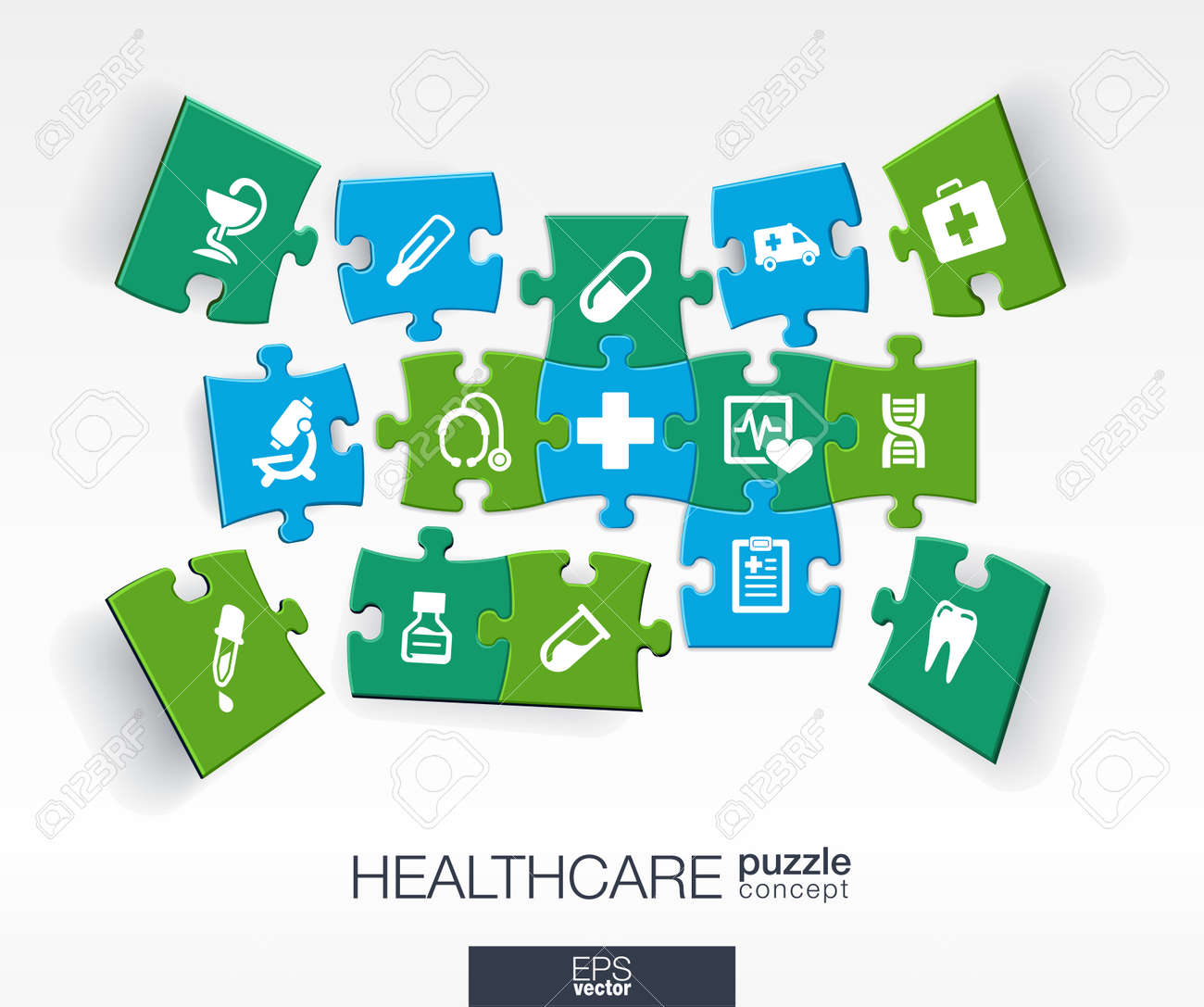 Abstract medicine background with connected color puzzles integrated flat icons. 3d infographic concept with medical health healthcare cross pieces in perspective. Vector interactive illustration. Stock Vector - 41722588