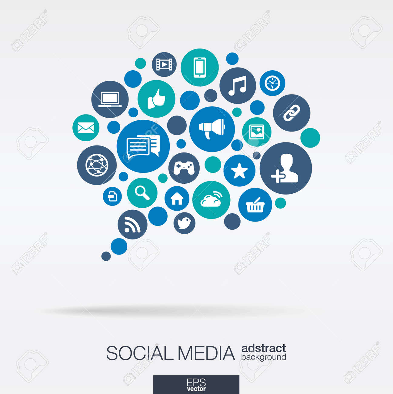 Color circles flat icons in a speech bubble shape: technology social media network computer concept. Abstract background with connected objects in integrated group of elements. Vector illustration - 41722651