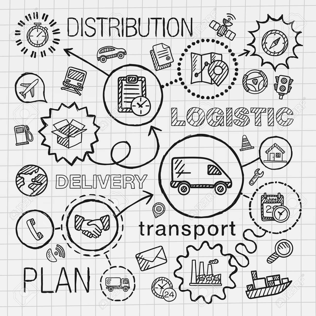 Logistic hand draw integrated icons set. Vector sketch infographic illustration with line connected doodle hatch pictograms on paper: distribution shipping transport services container concepts Stock Vector - 41722716