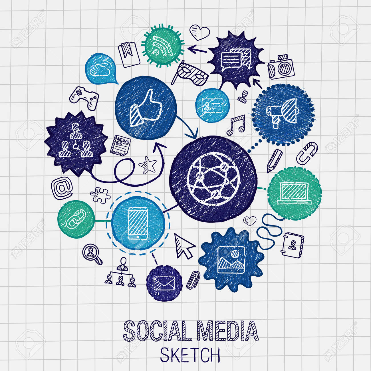 Social media hand drawing hatch icons. Vector doodle integrated pictogram set. Sketch infographic illustration on paper: internet digital market media connect technology global connect concept Stock Vector - 41722829