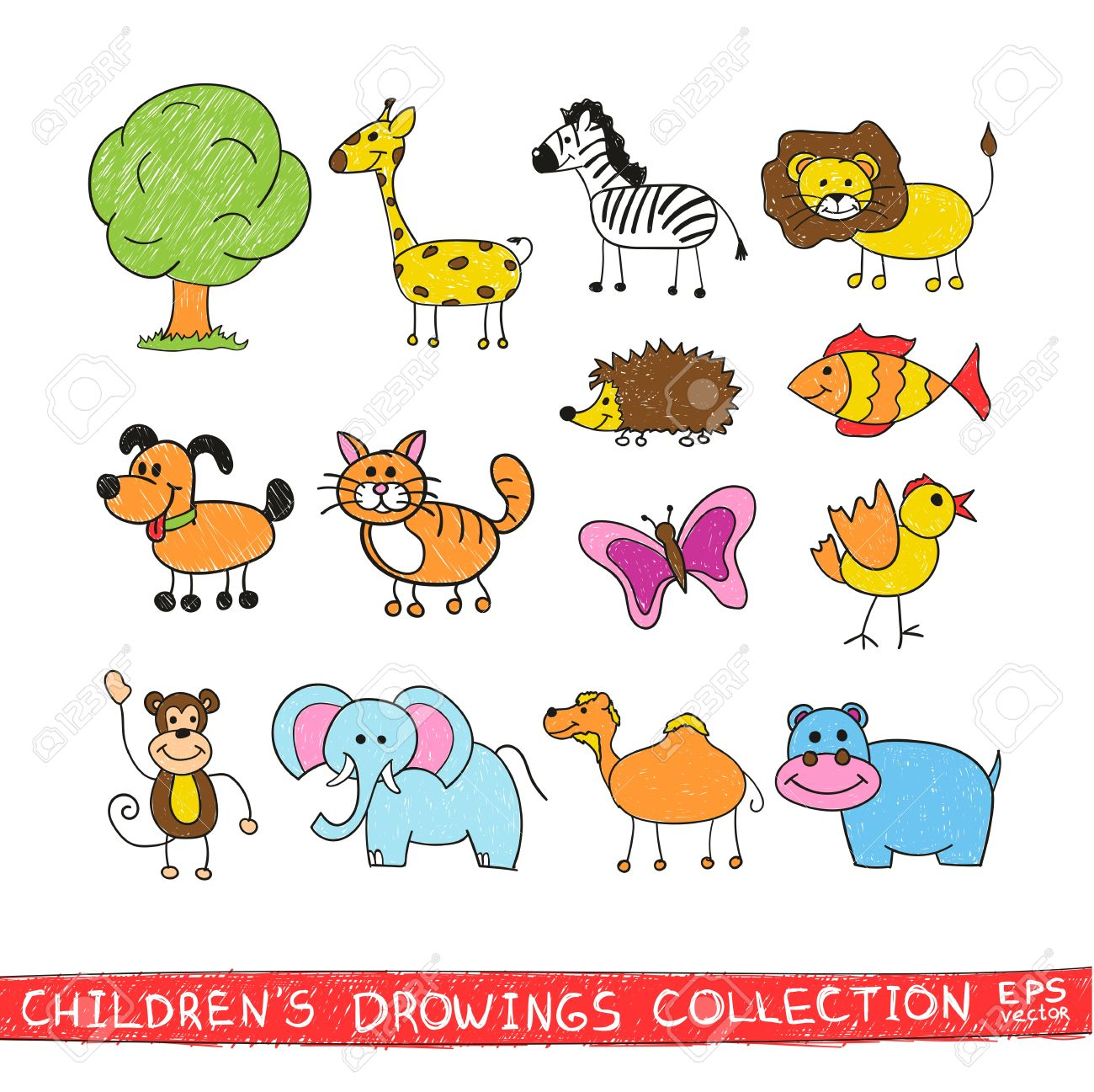 Funny Zoo In Child Hand Drawing Image Cartoon Illustration Of