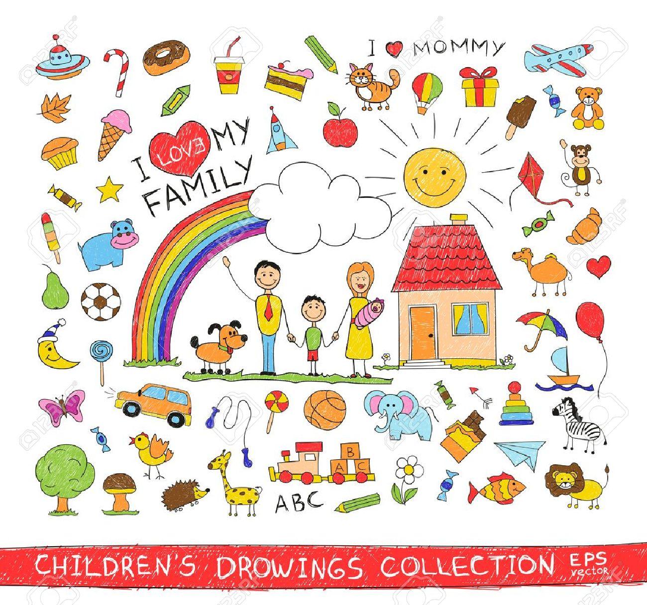 Ilustracao Do Desenho Da Mao Da Crianca Da Familia Feliz Com As