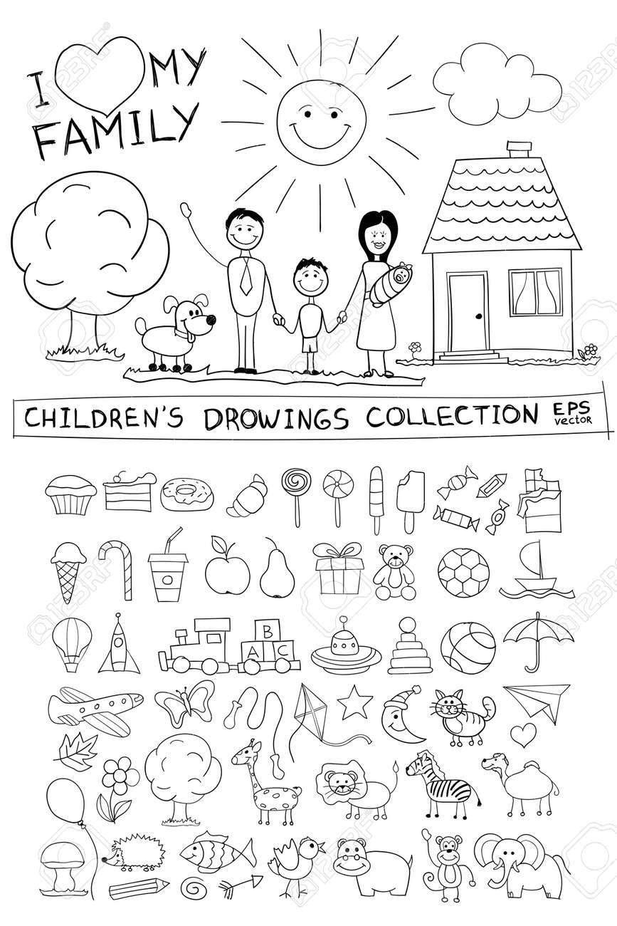 child hand drawing illustration of happy family with kids near