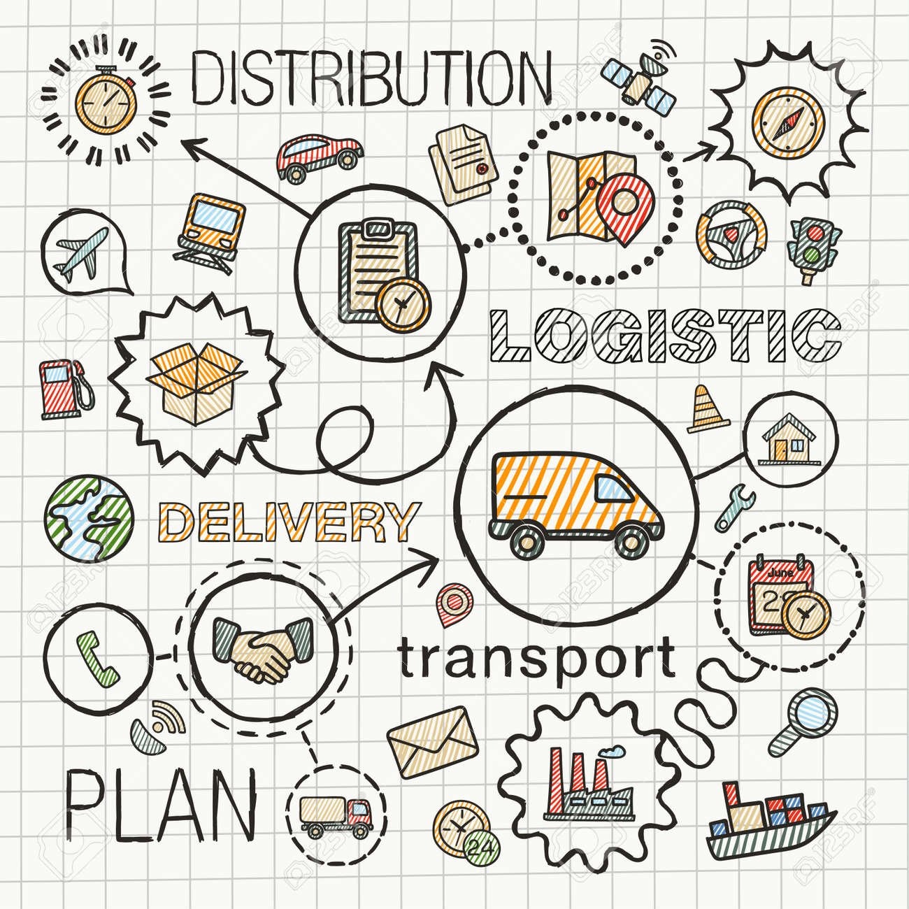 Logistic hand draw integrated color icons set. Vector sketch infographic illustration with line connected doodle hatch pictograms on paper: distribution, shipping, transport, services concepts - 43343811