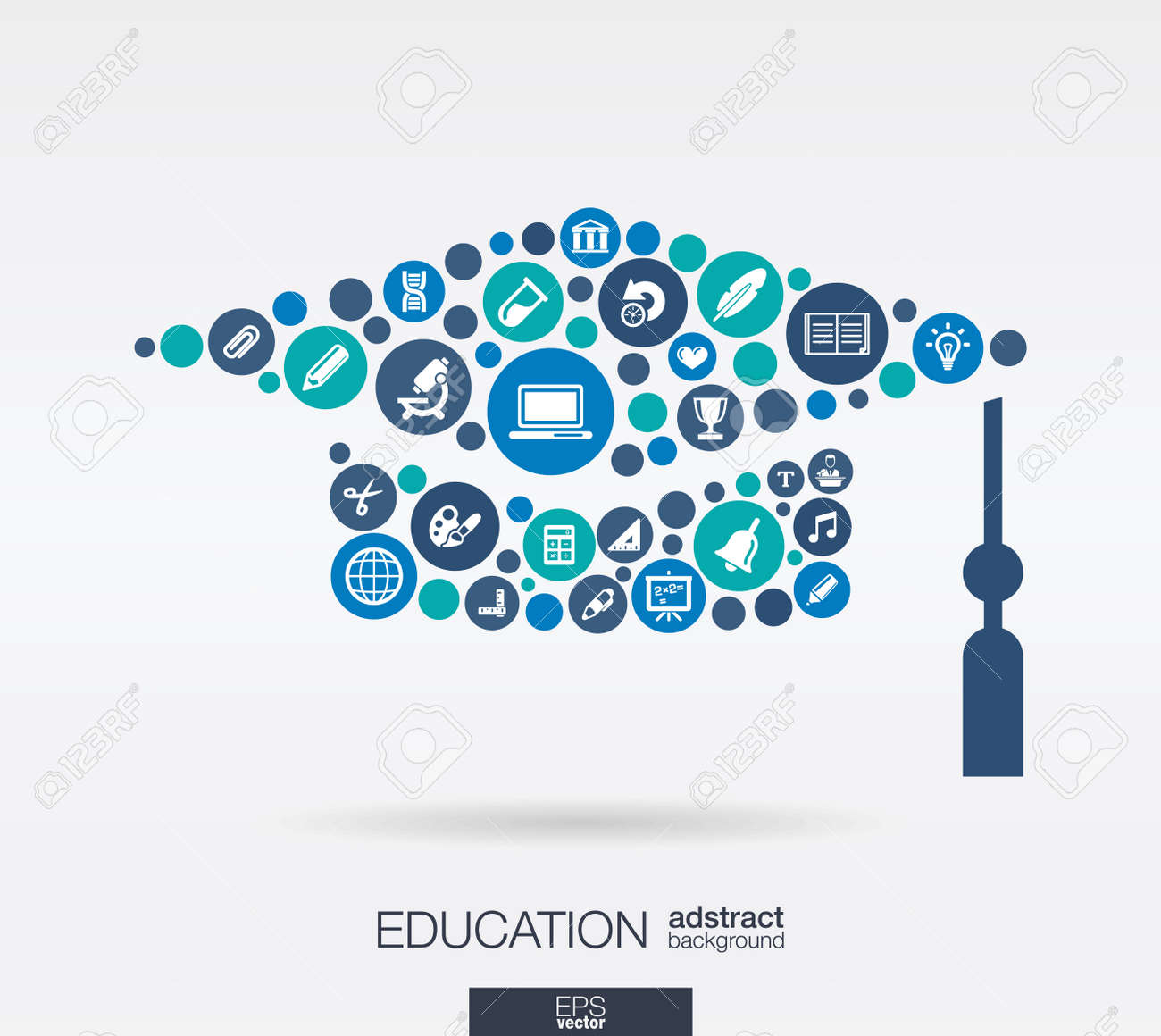 Color circles, flat icons in a graduation hat shape: education, school, science, knowledge, e learning concepts. - 43347915