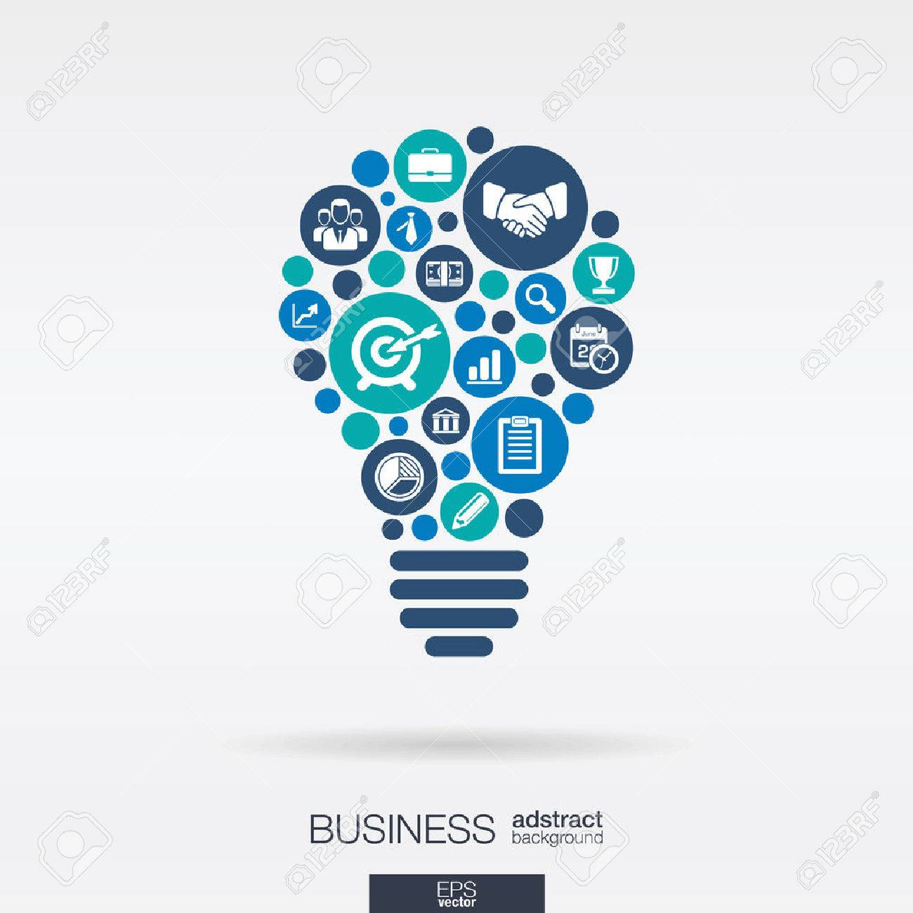 Color circles, flat icons in a idea bulb shape: business, marketing research, strategy, mission, analytics concepts. - 43347916