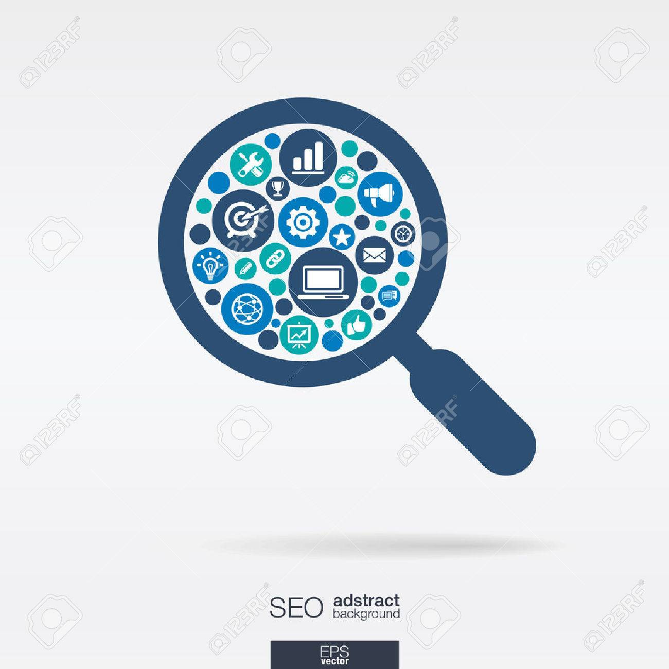 Color circles, flat icons in an magnifier glass shape: technology, SEO, network, digital, analytics, data and market concepts. - 43347918