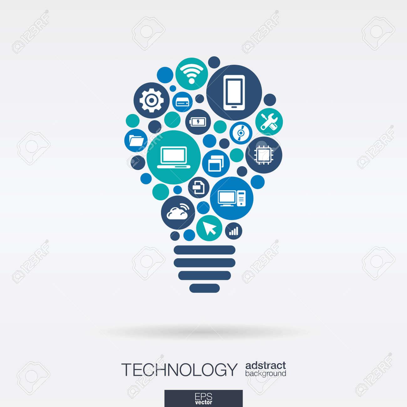 Color circles, flat icons in idea bulb shape: technology, cloud computing, digital concept. - 43347917