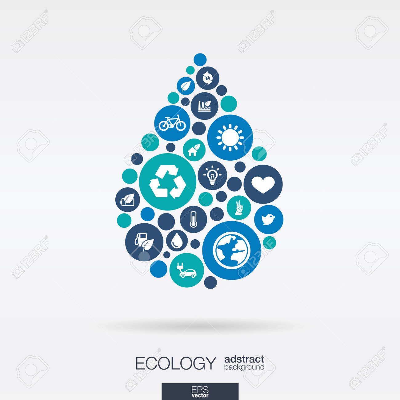 Color circles, flat icons in a water drop shape: ecology, earth, nature, eco, environmental protection concepts - 43347926