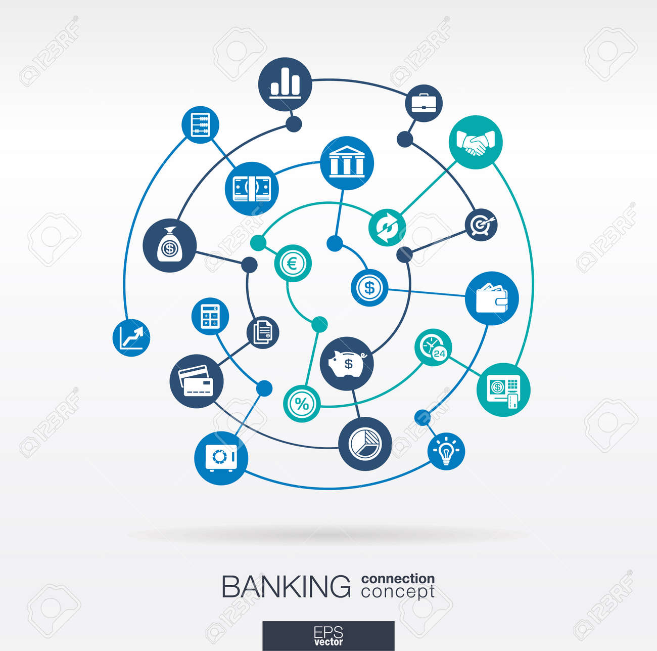 Banking Network. Circles Abstract Background With Lines And ...