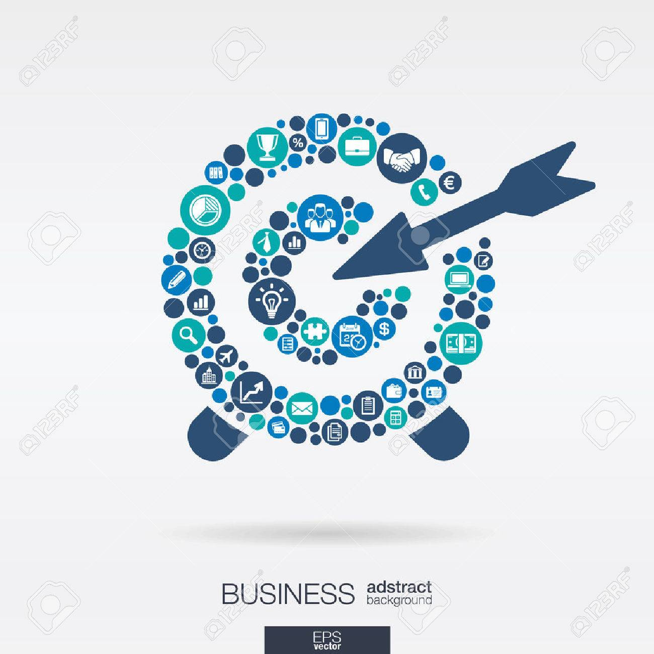 Color circles, flat icons in a target shape: business, marketing research, strategy, mission, analytics concepts. Abstract background with connected objects. Vector interactive illustration. - 43380020