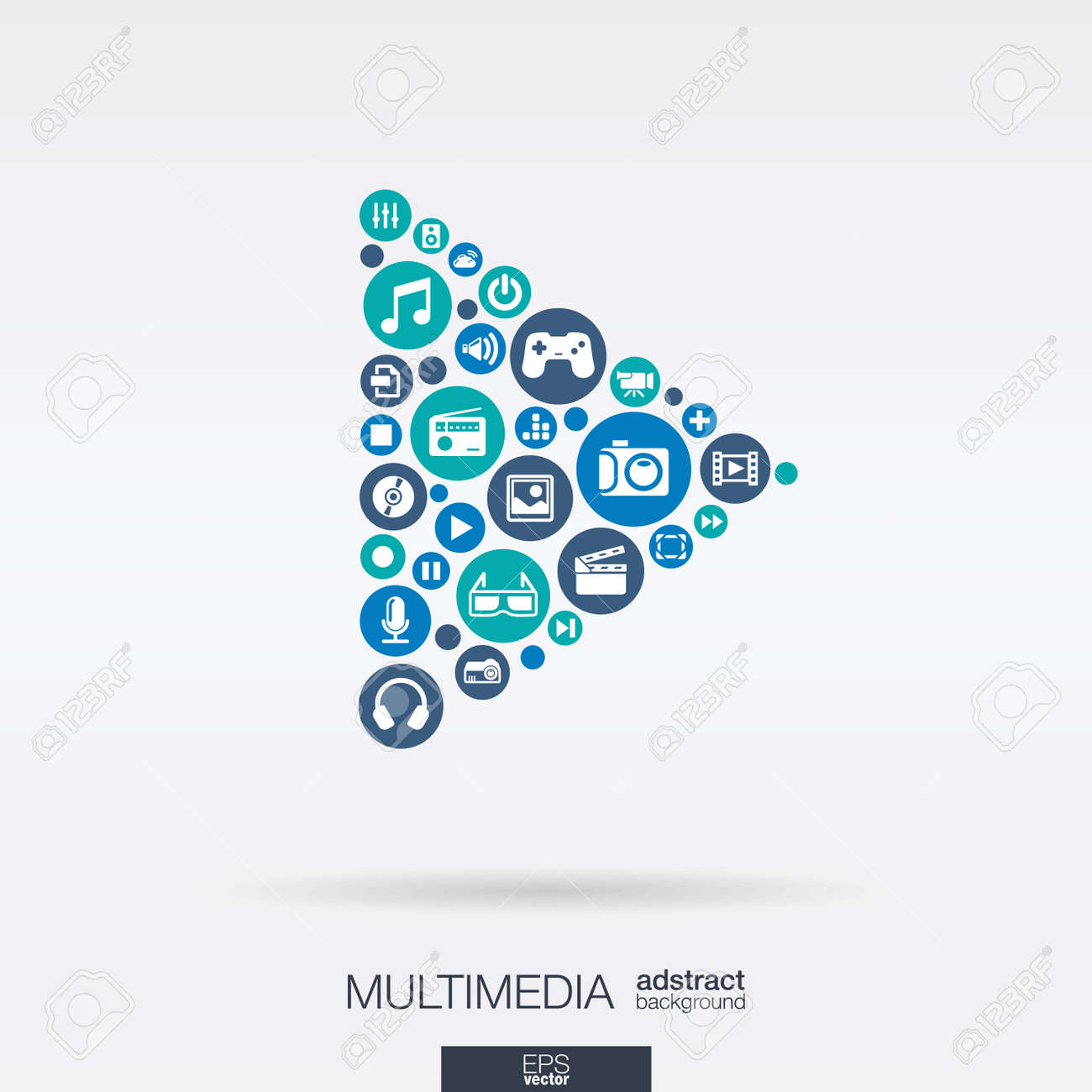 Color circles, flat icons in a play button shape: multimedia, technology, digital, music, film, gaming concept. Abstract background with connected objects in integrated group. Vector illustration - 43380027