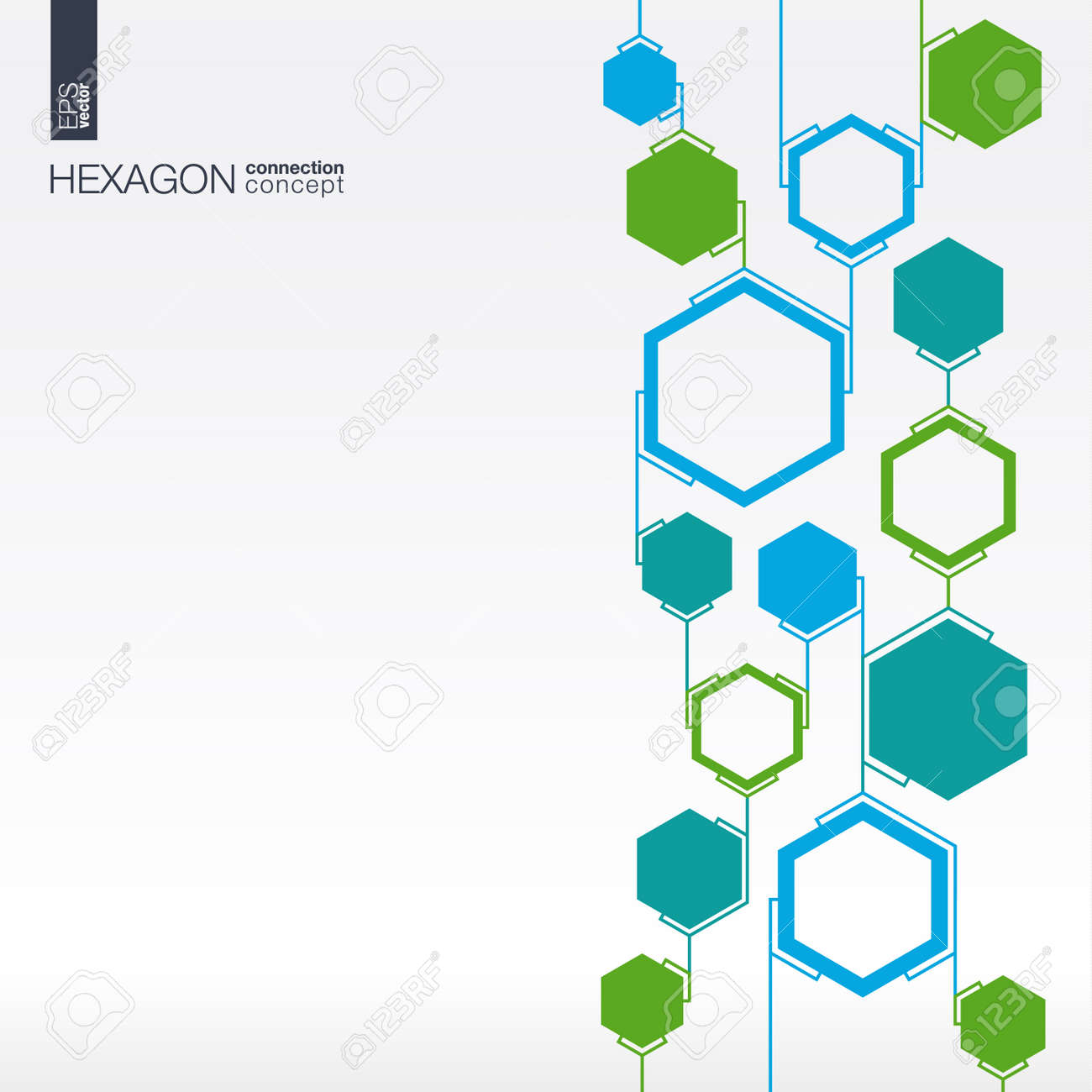 Abstract hexagon background with lines and integrated polygons for Business Company, medical, healthcare, network, connect, social media and global concepts. - 43377676