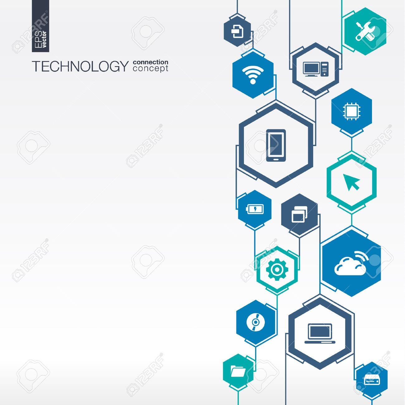 Technology network. Hexagon abstract background with lines, integrate flat icons. Connected symbols for digital, connect, communicate, social media and global concepts. Vector interactive illustration Stock Vector - 43377675