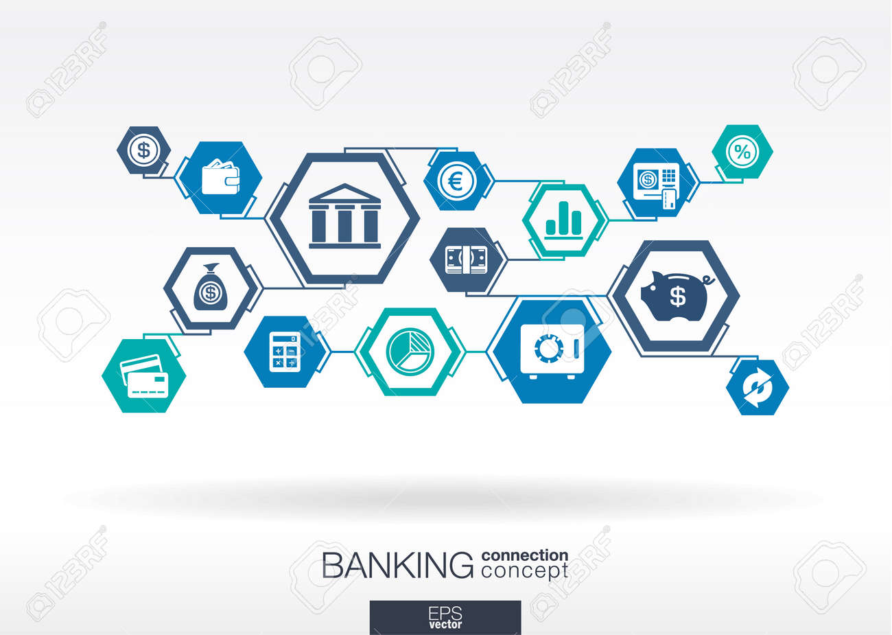 Banking network. Hexagon abstract background with lines, polygons, and integrate flat icons. Connected symbols for money, card, bank, business and finance concepts. Vector interactive illustration - 43377686