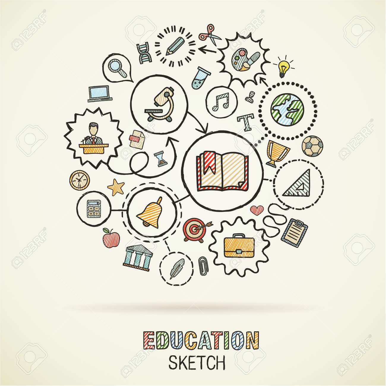 Educationhand drawing connected icons. Vector doodle interactive pictogram set: sketch concept illustration on paper: elearning, knowledge, learn, analytics, network, science, social media. - 43377687