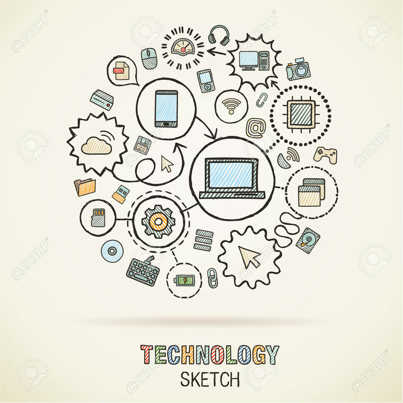 Technology hand drawing integrated sketch icons. Vector doodle interactive pictogram set. Connected infographic illustration on paper: digital, internet, network, communicate, media, global concepts - 43377690
