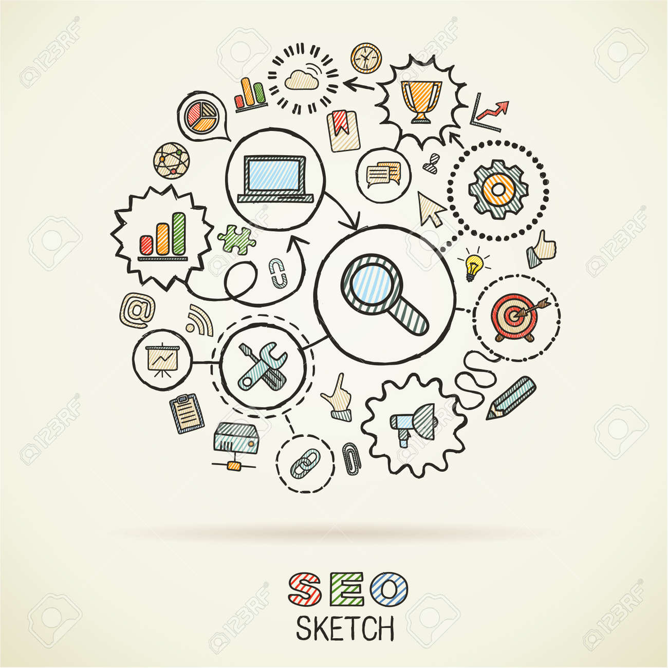 SEOhand drawing integrated sketch icons. Vector doodle marketing pictogram set. Connected infographic illustration on paper: network, business, connect, analytics, social media and market concepts - 43377689