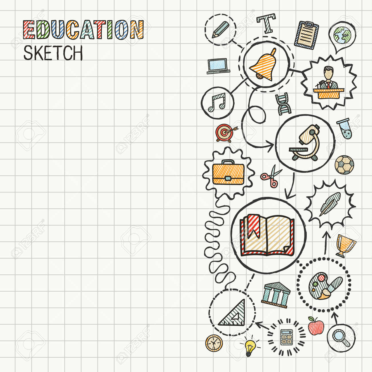 Education hand draw integrated icons set on paper. Colorful vector sketch infographic circle illustration. Connected doodle pictograms: social, elearn, learning, media, knowledge interactive concepts - 43377692