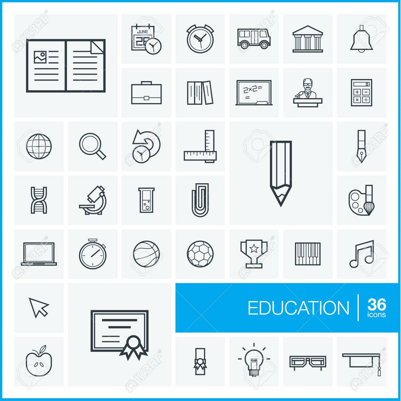 Vector thin line icons set and graphic design elements. Illustration with education, online learning, think outline symbols. Book, microscope, calculator, pen, elearning, teacher linear pictogram - 51018181