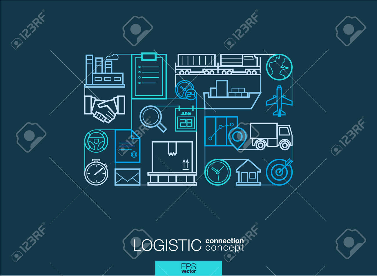 Logistic integrated thin line symbols. Modern linear style vector concept, with connected flat design icons. Illustration for delivery, service, shipping, distribution, transport, communicate concepts - 51018198