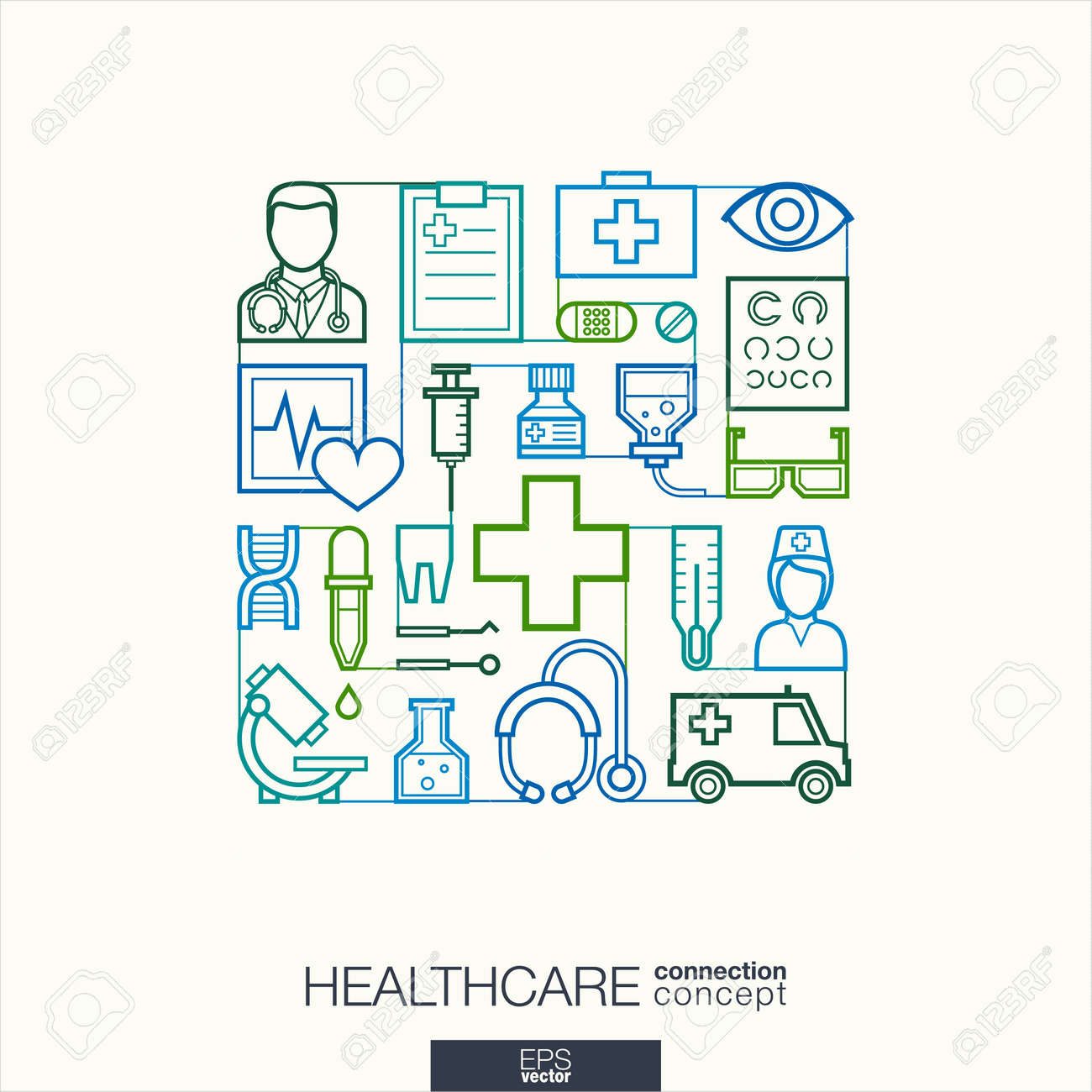 Healthcare integrated thin line symbols. Modern linear style vector concept, with connected flat design icons. Abstract illustration for medical, health, care, medicine, network and global concepts. - 51018200