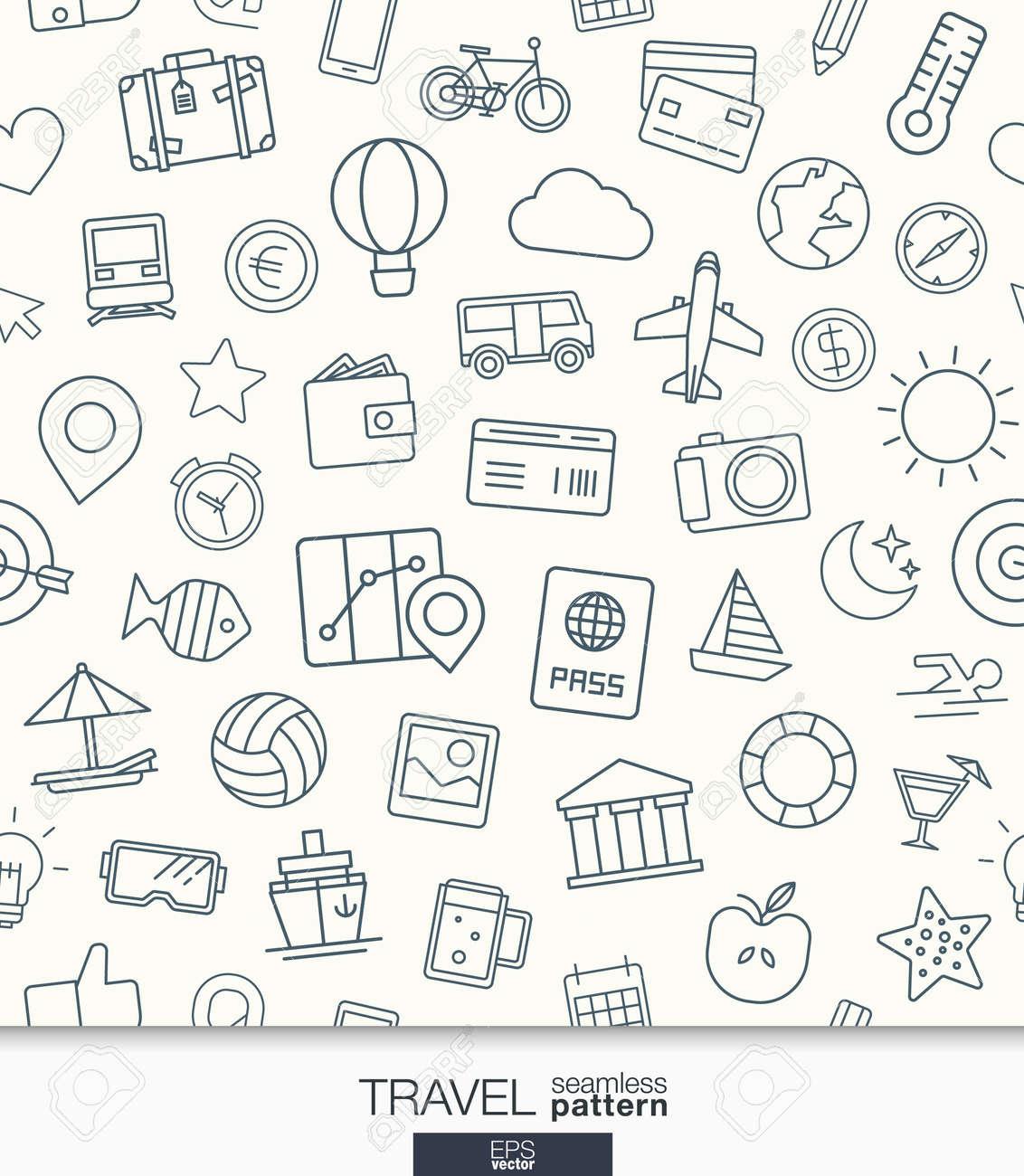 Travel Wallpaper. Black And White Trip Seamless Pattern. Tiling ...
