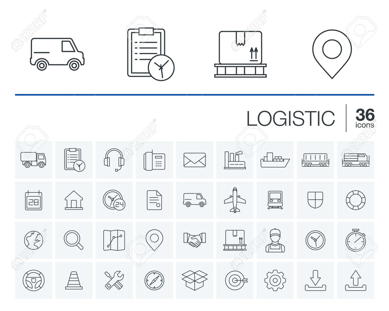 thin line rounded icons set and graphic design elements. Illustration with Logistic, delivery business, distribution outline symbols. Service, export, shipping, transport linear pictogram - 53666644