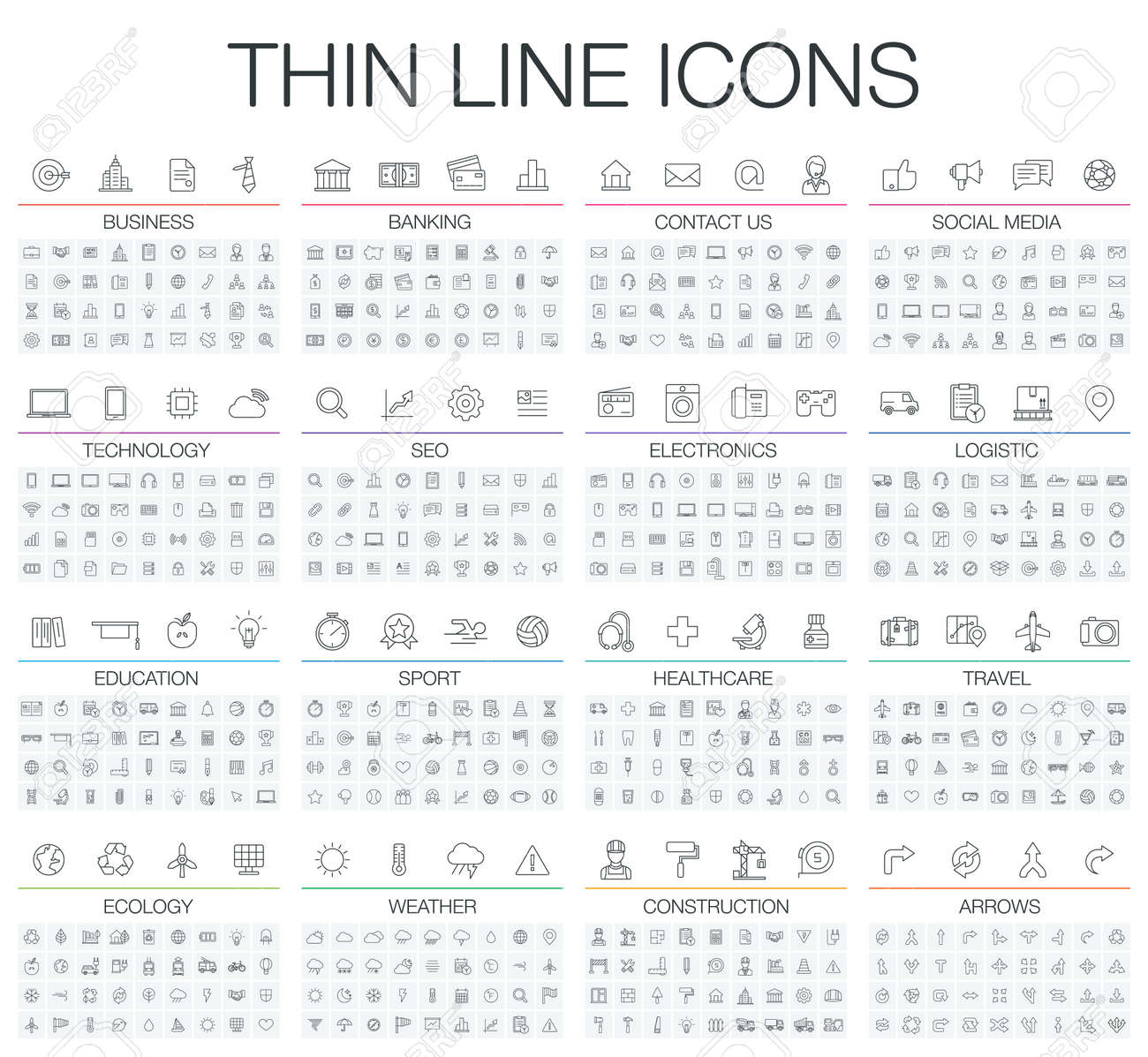 illustration of thin line icons for business, banking, contact, social media, technology, seo, logistic, education, sport, medicine, travel, weather, construction, arrow. Linear symbols set. - 53666647