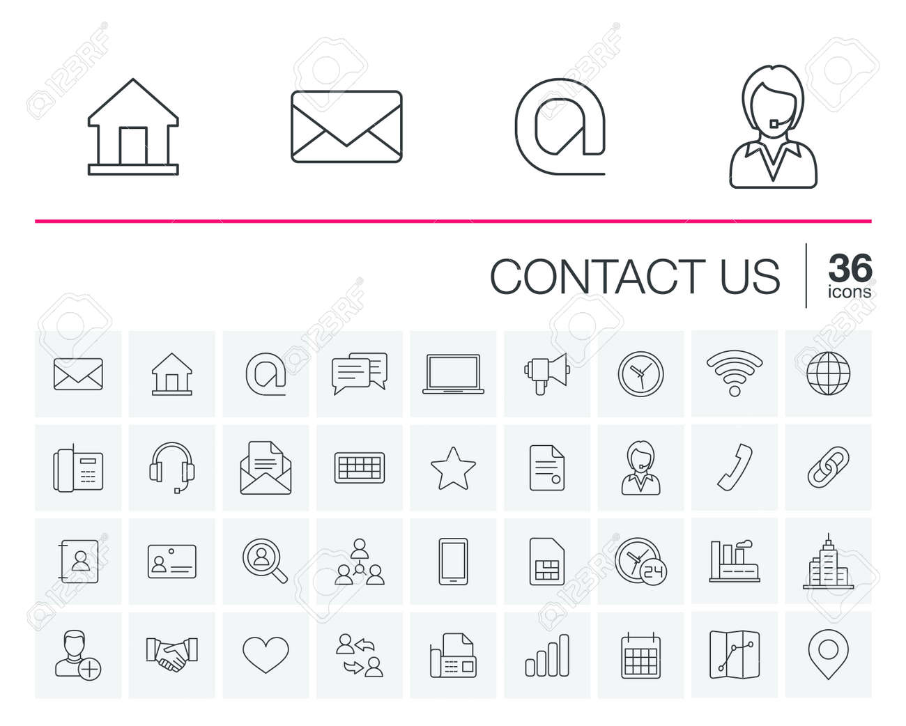 thin line icons set and graphic design elements. Illustration with contact us outline symbols. Communication, home, call, speech bubble, email, letter, envelope, handshake linear pictogram - 53667098