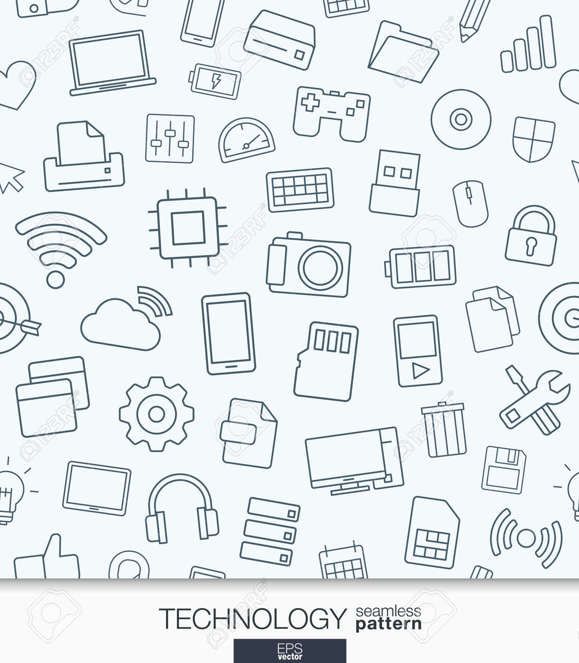 Technology Wallpaper Black And White Digital Seamless Pattern Tiling Textures With Thin Line Web