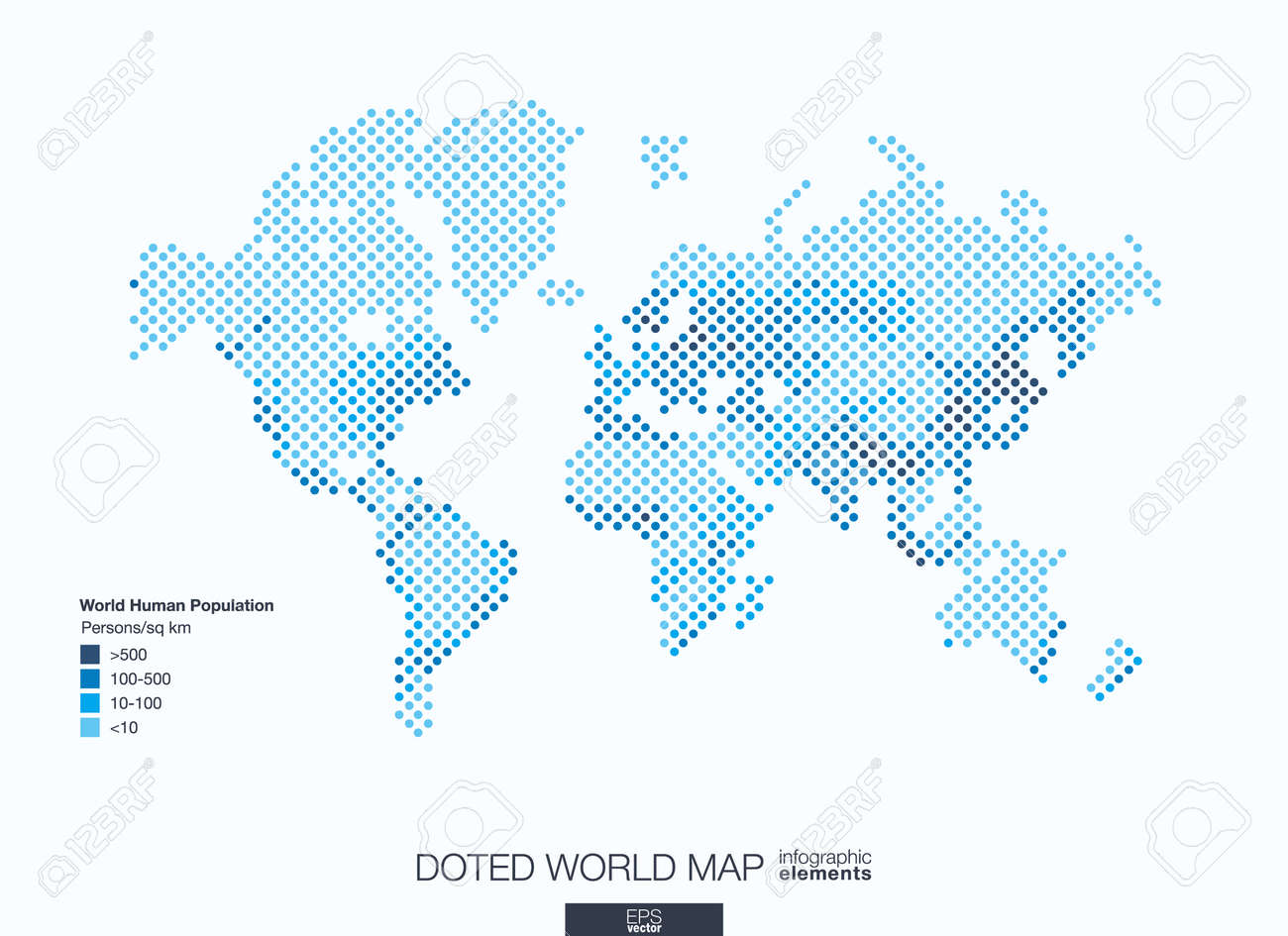 Useful info graphic template. Set of graphic design elements: choropleth world map. World human population info. Doted illustration. - 53668054
