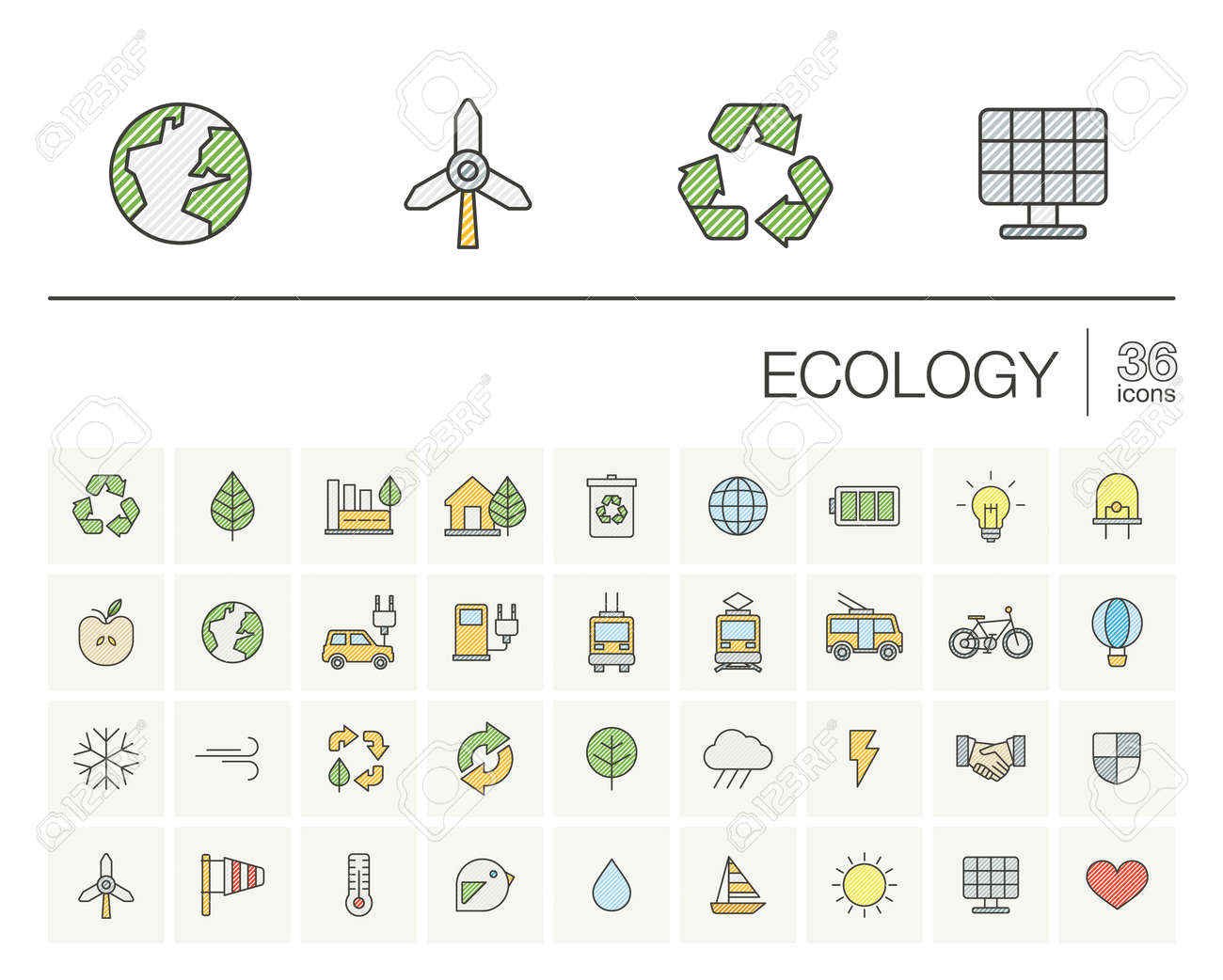 thin line icons set and graphic design elements. Illustration with ecology outline symbols. Eco, bio, environmental, alternative, recycle, wind power color pictogram. - 53668065