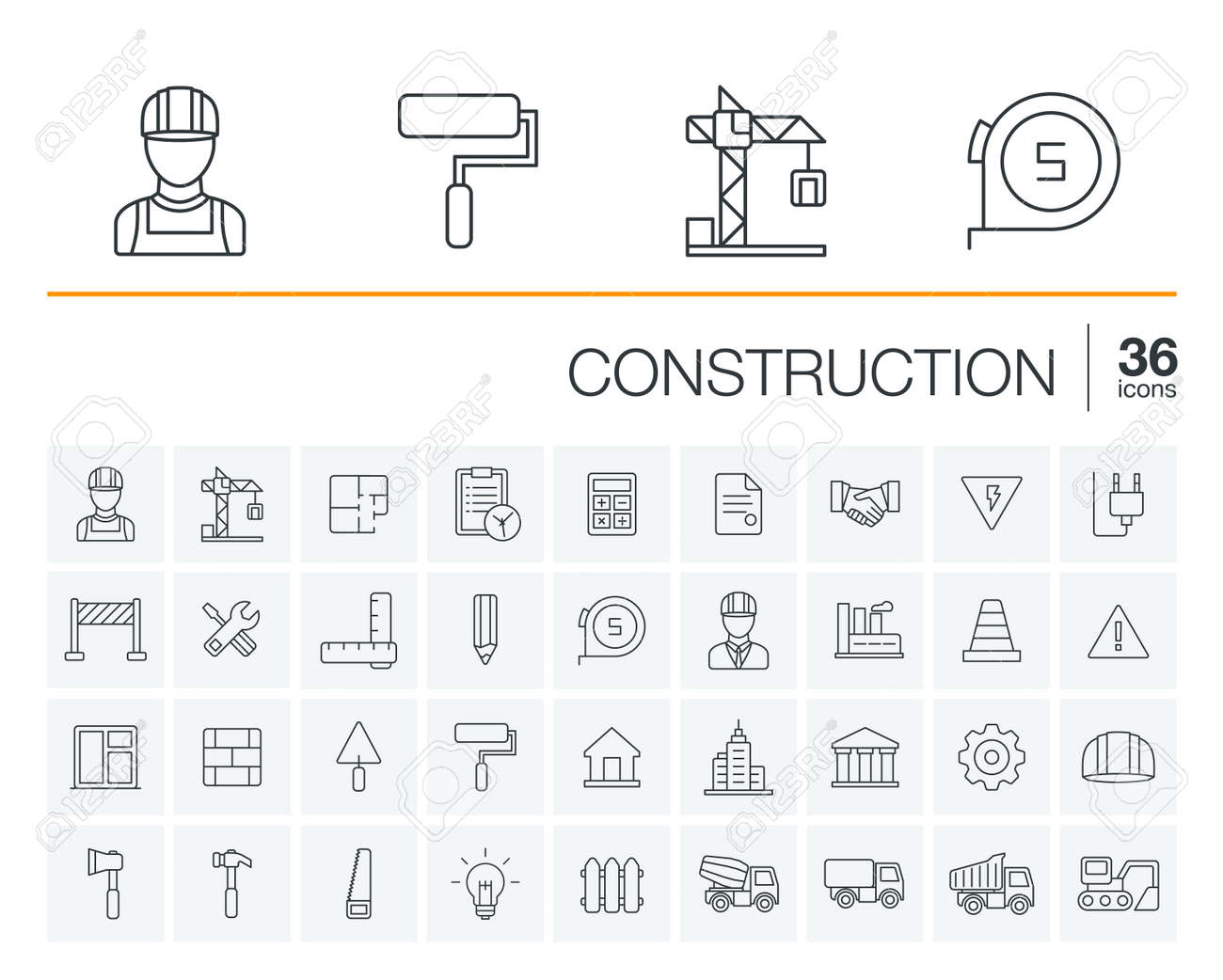 Vector thin line rounded icons set and graphic design elements. Illustration with construction, industrial, architectural, engineering outline symbols. Home repair tools, worker, building pictogram - 53668070