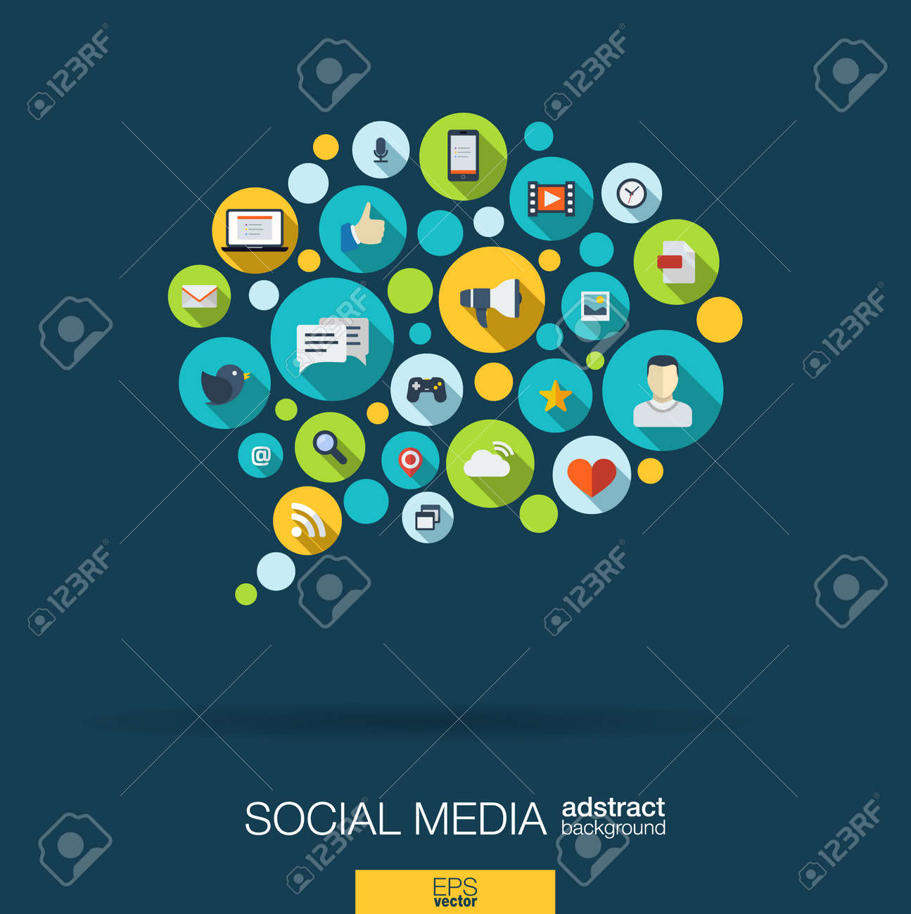Color circles, flat icons in a speech bubble shape: technology, social media, network, computer concept. Abstract background with connected objects in integrated group of elements. Vector illustration - 53668071