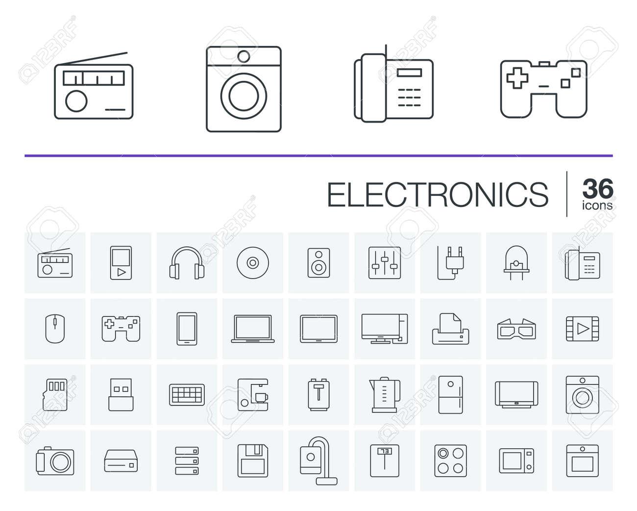 Iconos De Líneas Finas Establecidos Y Elementos De Diseño Gráfico ...