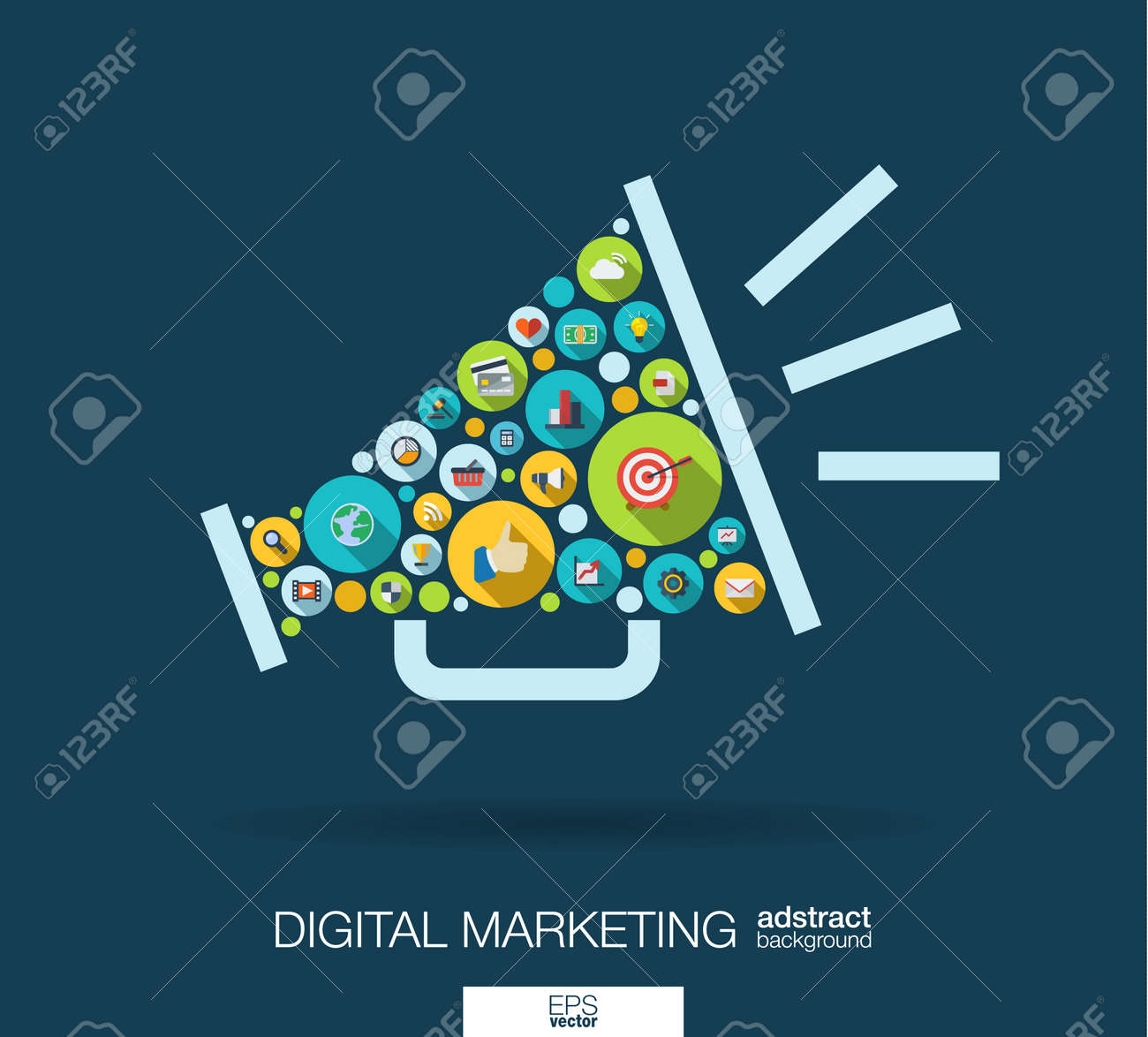 Color circles, flat icons in a speaker shape: digital marketing, social media, network, computer concept. Abstract background with connected objects in integrated group of element. - 53668265