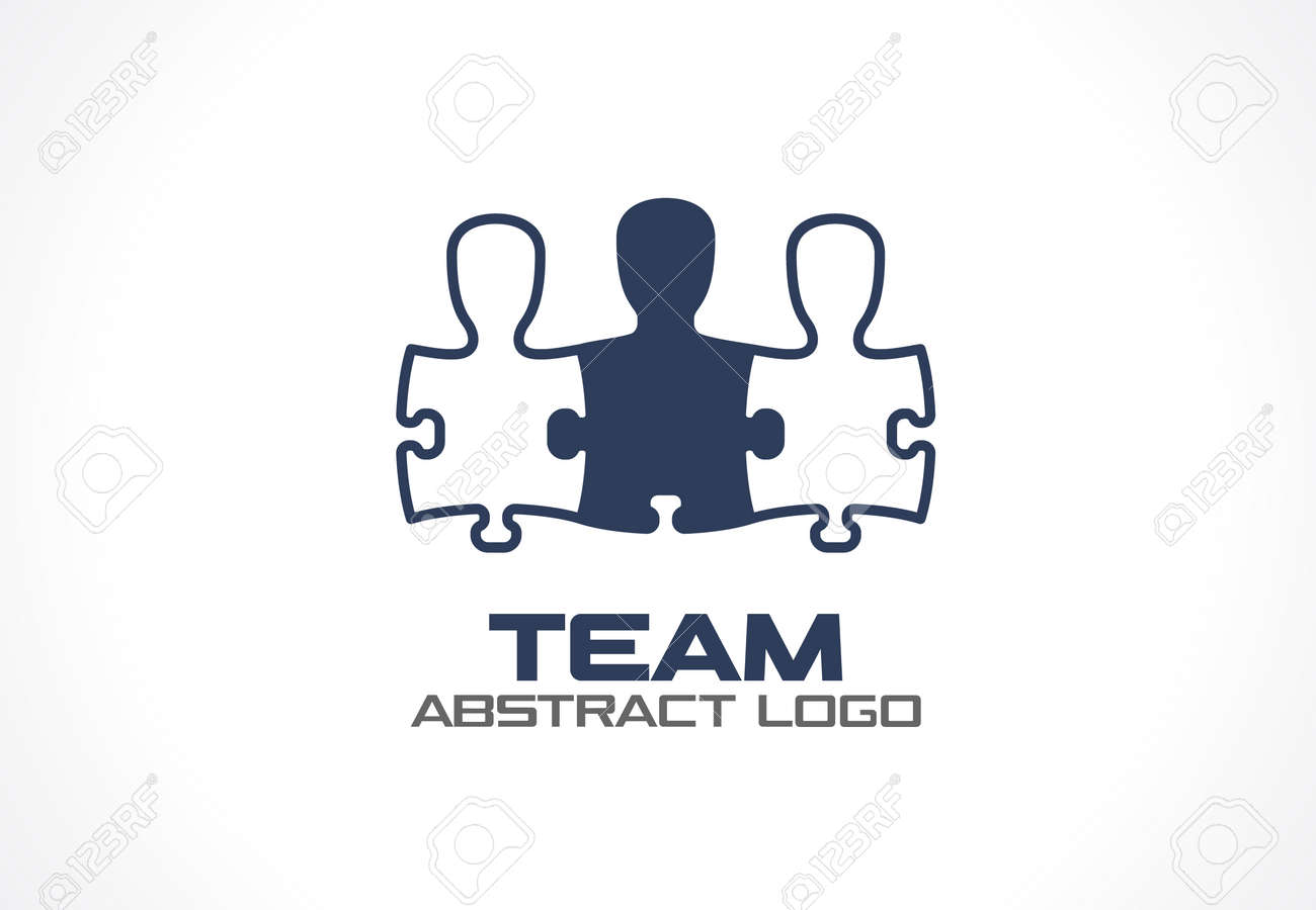 Abstract logo for business company. Corporate identity design element. Social Media, network Logotype idea. People connect in puzzle shape, teamwork, partnership, team concept. Colorful Vector icon - 60944177
